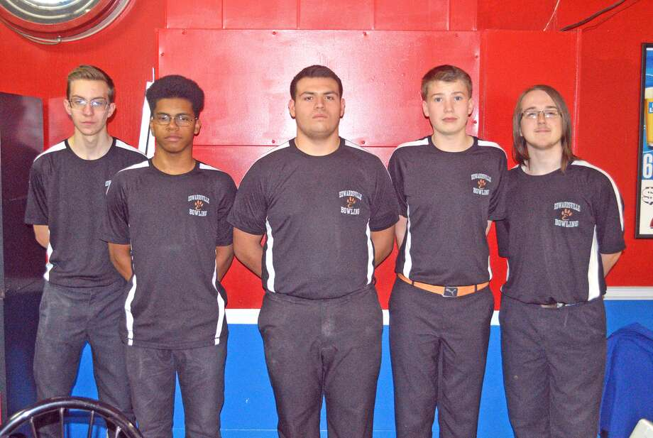 Members of the Edwardsville boys' bowling team in Saturday's Belleville East Southern Illinois Team Challenge at Bel-Air Bowl were, left to right, Jackson Budwell, Eian Sims, Andy Sill, Hayden Meyer and Michael Jenkins.