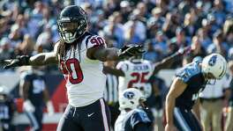 "Houston Texans outside linebacker Jadeveon Clowney (90) signals ""no good"" after Houston Texans quarterback Deshaun Watson (4) missed a field goal attempt during the first quarter of an NFL football game at Nissan Stadium on Sunday, Dec. 3, 2017, in Nashville. ( Brett Coomer / Houston Chronicle )"