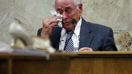 Dale Tacheny wipes away a tear when asked why he decided to look for information on a murder he said John Bernard Feit admitted to being a part of while testifying in the 92nd state District Court during Feit's trial for the 1960 murder of Irene Garza Monday, December, 4, 2017, at the Hidalgo County Courthouse in Edinburg. Tacheny testified that Feit confessed to him in 1963 while the two were in a monastery in Missouri.  (Nathan Lambrecht/The Monitor/Pool)