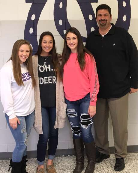 Three Dayton High School athetes were named to the Texas Girls' Coaches Association and Texas Association of Volleyball Coaches' Academic All-State Team. The young ladies, Rhiannon Clifton, Abby Jane Howeth and Calie Thornton, are pictured with Coach Geoff McCracken. Photo: Submitted