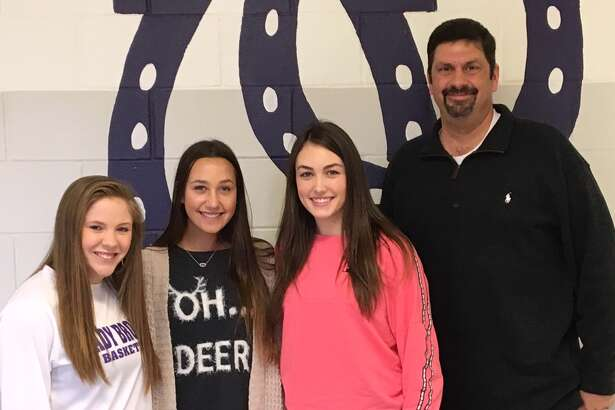 Three Dayton High School athetes were named to the Texas Girls' Coaches Association and Texas Association of Volleyball Coaches' Academic All-State Team. The young ladies, Rhiannon Clifton, Abby Jane Howeth and Calie Thornton, are pictured with Coach Geoff McCracken.