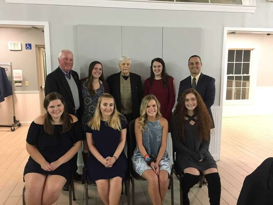 The Victoria Soto Fairfield County Football Scholarship Awards were given at the Football Officials Banquet at Fairfield Pavilion on Tuesday. First row, from left, Caitlin Brown, St. Joseph High School, Caitlin Trutt, Notre Dame of Fairfield, Payton Damato, Stratford High School, and Gillian Mariconda, Stratford High School; back row, Walt Brown, awards chairman;Molly Carroll, Joel Barlow Hig School, Don Fagan, Victoria Soto's grandfather, Emily Sportini, Foran High School; and Anthony Calabrese, president-elect, 2018-2019. Photo: Contributed Photo