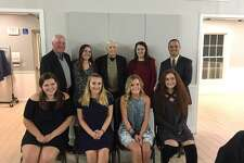 The Victoria Soto Fairfield County Football Scholarship Awards were given at the Football Officials Banquet at Fairfield Pavilion on Tuesday. First row, from left, Caitlin Brown, St. Joseph High School, Caitlin Trutt, Notre Dame of Fairfield, Payton Damato, Stratford High School, and Gillian Mariconda, Stratford High School; back row, Walt Brown, awards chairman;Molly Carroll, Joel Barlow Hig School, Don Fagan, Victoria Soto's grandfather, Emily Sportini, Foran High School; and Anthony Calabrese, president-elect, 2018-2019.