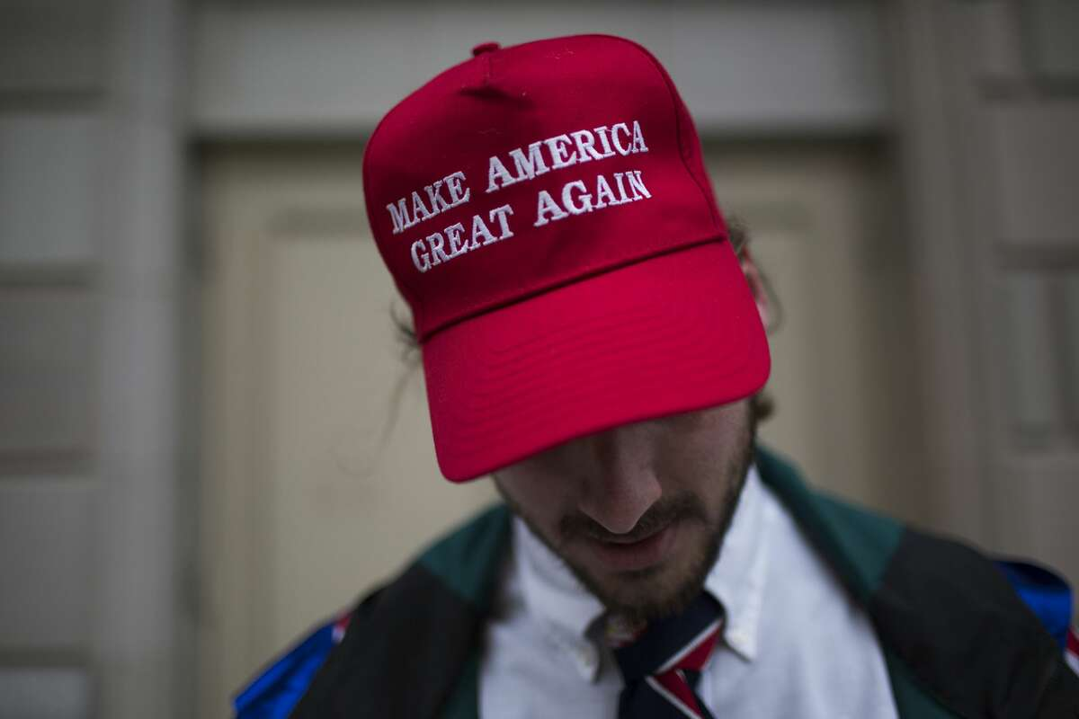 Dominic Rubio sports a hat that features a popular Trump slogan. He was among those who went to celebrate the president's inauguration.