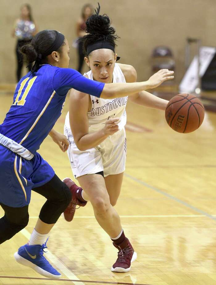 TAMIU lost 78-42 on Thursday night in the Heartland Conference tournament quarterfinals to No. 2 Lubbock Christian in Tulsa, Oklahoma. Dustdevils guard Tantashea Giger earned honorable mention honors in the Heartland Conference Wednesday night. Photo: Danny Zaragoza /Laredo Morning Times File / Laredo Morning Times