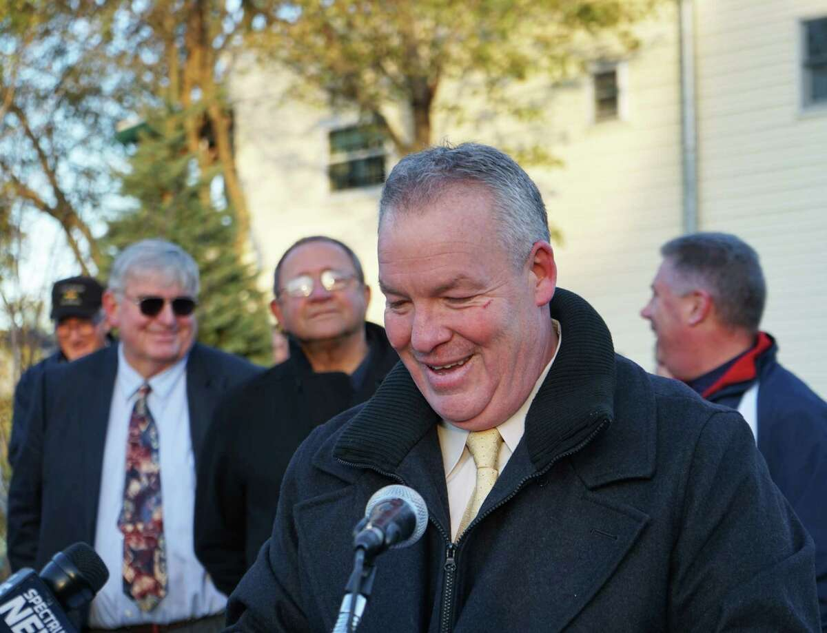 Shawn Morse, Mayor of the City of Cohoes, speaks at a Veterans Memorial Park Dedication at West End Park on Saturday, Nov. 11, 2017. Brenda Morse told police she scratched at her husband's face a day earlier when he allegedly grabbed her neck and threw her to the ground during an argument at their Cohoes residence. She told police it was not the first time he had physically abused her. (Massarah Mikati/Times Union)