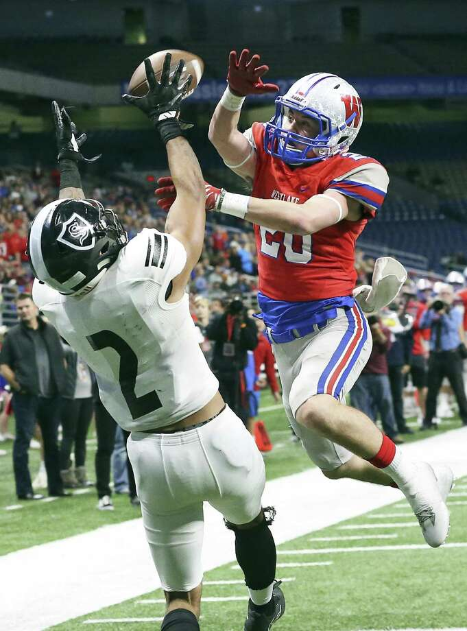 Chap's defender Collin Swallow deflects a pass in the end zone intended for Knight receiver Caden Sterns as Steele plays Westlake in the Class 6A Division II state quarterfinals at the Alamodome December 9, 2017 Photo: Tom Reel,  Staff / San Antonio Express-News / 2017 SAN ANTONIO EXPRESS-NEWS