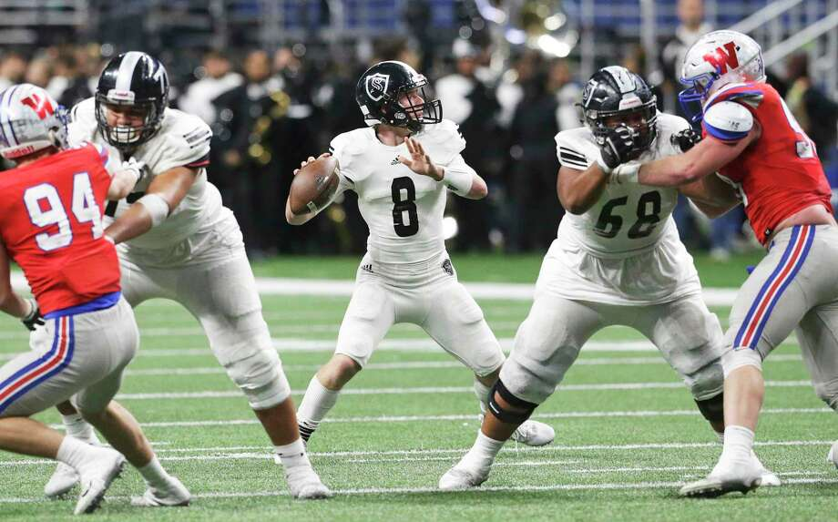 Knight quarterback Wyatt Begeal gets good protection as he looks for a target as Steele plays Westlake in the Class 6A Division II state quarterfinals at the Alamodome December 9, 2017 Photo: Tom Reel, Staff / San Antonio Express-News / 2017 SAN ANTONIO EXPRESS-NEWS