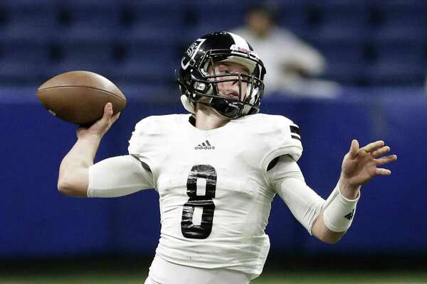 Knight quarterback Wyatt Begeal throws in the second half as Steele plays Westlake in the Class 6A Division II state quarterfinals at the Alamodome December 9, 2017