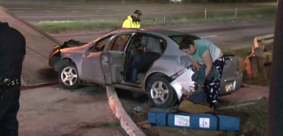 A Sunday morning crash on East Freeway landed two drivers in cuffs. Photo: Metro Video