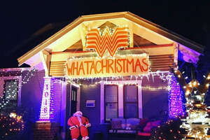 The Whataburger themed display at Lights in the Heights. Photo by Katherine Blunt