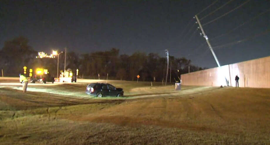 A man was hospitalized after he lost control of his car and hit a power pole early Sunday in eastern Harris County.A man was hospitalized after he lost control of his car and hit a power pole early Sunday in eastern Harris County. Photo: Metro Video