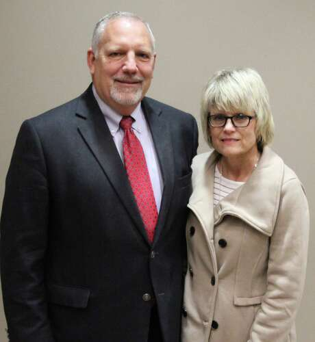 Dr. Marc Keith is the lone finalist for Tarkington ISD superintendent. Keith is pictured with his wife at the Cleveland Chamber of Commerce luncheon on Thursday. Photo: Jacob McAdams