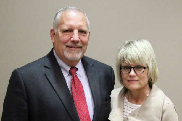 Dr. Marc Keith is the lone finalist for Tarkington ISD superintendent. Keith is pictured with his wife at the Cleveland Chamber of Commerce luncheon on Thursday.