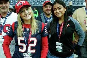 Houston Texans fans watch warm ups before an NFL football game against the San Francisco 49ers at NRG Stadium on Sunday, Dec. 10, 2017, in Houston.