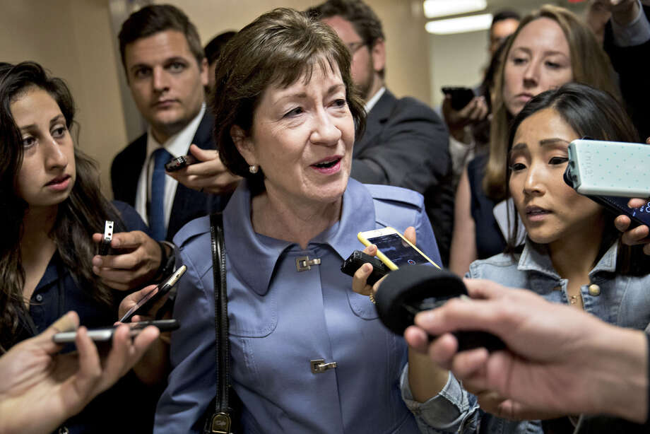 Sen. Susan Collins, R-Maine, speaks to members of the media in the basement of the U.S. Capitol in September. Photo: Andrew Harrer, Bloomberg / © 2017 Bloomberg Finance LP