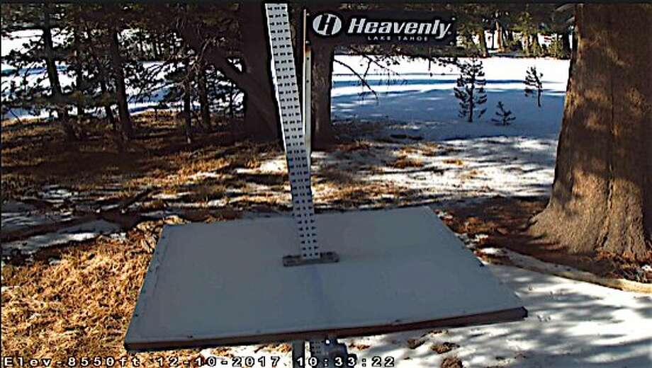 At the snow stake located near Sky Express at Heavenly Mountain Resort near South Lake Tahoe, the gauge is dry and bare on Sunday morning, December 10, 2017, with no storms forecast in the long range outlook. Photo: Tom Stienstra, Courtesy Heavenly, Special To The Chronicle