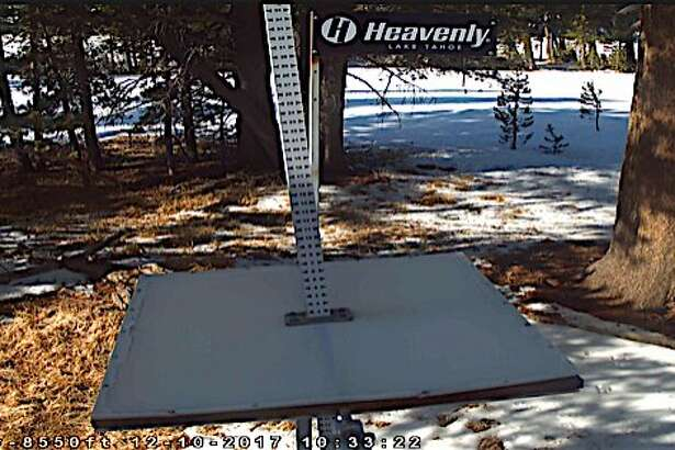 At the snow stake located near Sky Express at Heavenly Mountain Resort near South Lake Tahoe, the gauge is dry and bare on Sunday morning, December 10, 2017, with no storms forecast in the long range outlook.