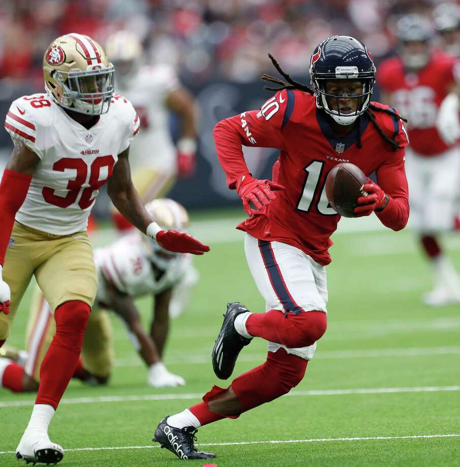 Texans receiver DeAndre Hopkins looks for separation from the 49ers defense during the second quarter of an NFL football game at NRG Stadium, Sunday, Dec. 10, 2017, in Houston. Photo: Karen Warren, Houston Chronicle / © 2017 Houston Chronicle