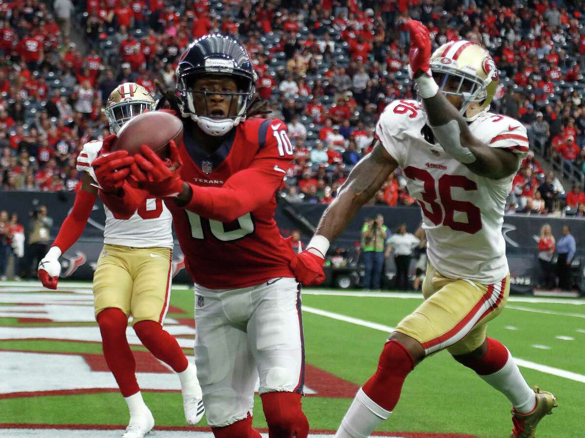 JOHN McCLAIN GRADES THE TEXANS AFTER LOSS TO 49ERS Wide receiver/tight end DeAndre Hopkins had 11 catches for 149 yards and two touchdowns but lost a fumble in the fourth quarter. Stephen Anderson dropped two passes and had a penalty. Will Fuller wasn't a factor after a good start. Grade: C