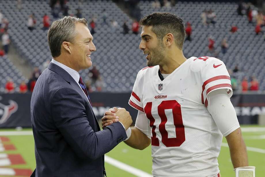 Quarterback Jimmy Garoppolo (right) and his agent will be in contract negotiations with 49ers GM John Lynch this offseason. Photo: Tim Warner, Getty Images