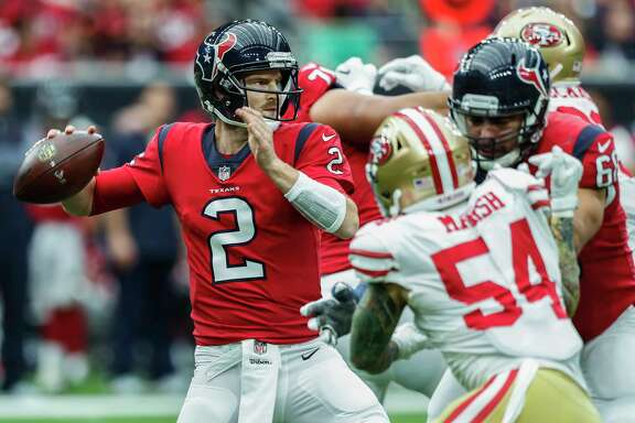 Houston Texans quarterback T.J. Yates (2) throws a pass against the San Francisco 49ers during the second quarter of an NFL football game at NRG Stadium on Sunday, Dec. 10, 2017, in Houston.