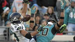 Jacksonville Jaguars cornerback Jalen Ramsey, right, breaks up a pass intended for Seattle Seahawks wide receiver Doug Baldwin, left, during the first half of an NFL football game, Sunday, Dec. 10, 2017, in Jacksonville, Fla. (AP Photo/Phelan M. Ebenhack)