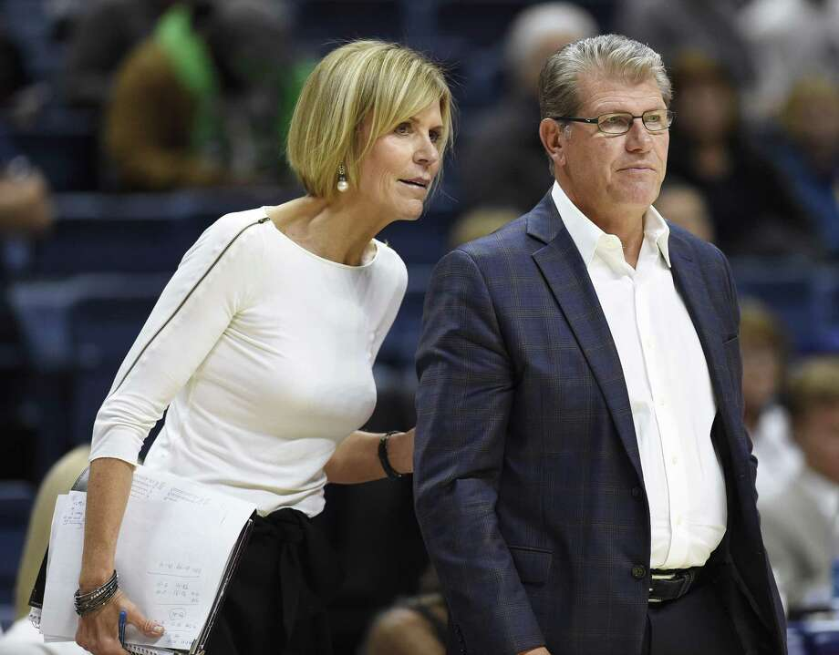 Under UConn associate head coach Chris Dailey and head coach Geno Auriemma, the Huskies have won a record 11 national titles. Photo: Jessica Hill / Associated Press / AP2017