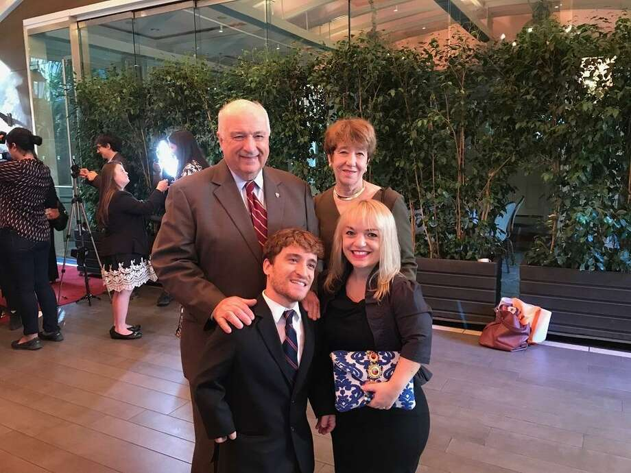 Celebrity Nic Novicki, front left and his wife, Teale, attend the Media Access Awards in Beverly Hills with Nic's parents, David and Lynn Novicki of Orange. Nic Novicki received a major award at the event for his Easterseals Disability Film Challenge. Provided art Photo: Pam McLoughlin / Provided Art