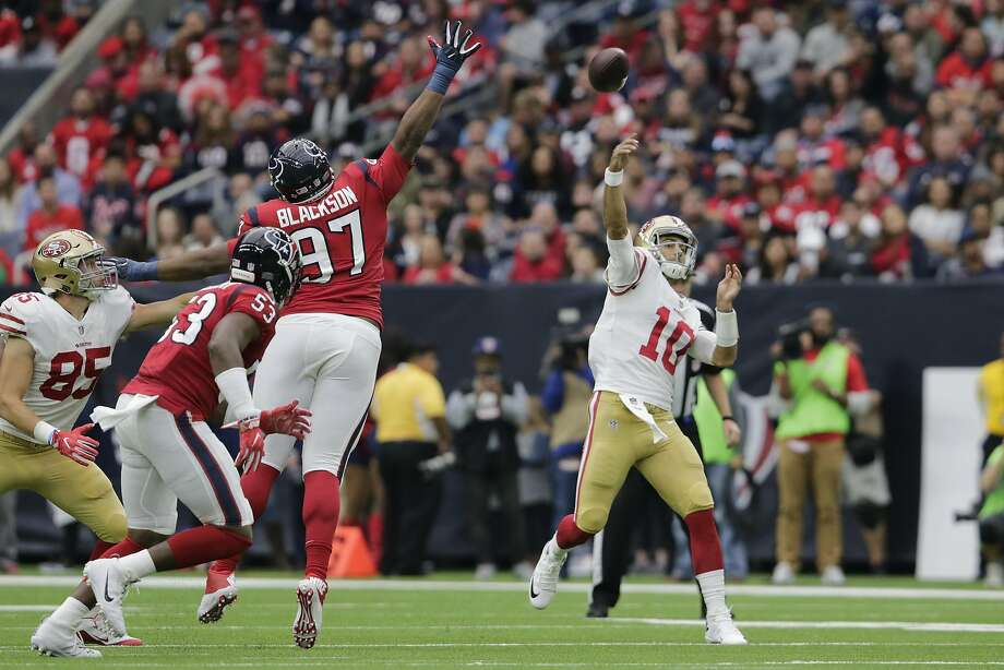 Quarterback Jimmy Garoppolo, unleashing a second-half pass, has imbued the 49ers with a newfound sense of confidence. Photo: Tim Warner, Getty Images