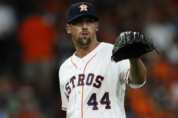 Houston Astros relief pitcher Luke Gregerson (44) between pitches in the eighth inning of the Houston Astros at Minute Maid Park, Friday, March 31, 2017, in Houston.  ( Karen Warren / Houston Chronicle )