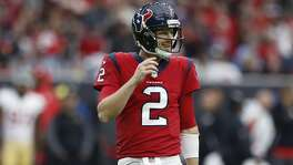 Houston Texans quarterback T.J. Yates (2) during the fourth quarter of an NFL football game at NRG Stadium, Sunday, Dec. 10, 2017, in Houston.  ( Karen Warren / Houston Chronicle )