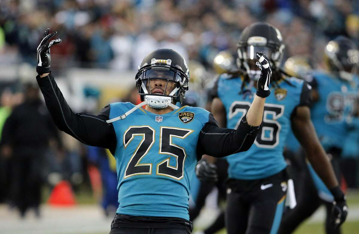 Jacksonville Jaguars safety Peyton Thompson (25) celebrates a play against the Seattle Seahawks during the first half of an NFL football game, Sunday, Dec. 10, 2017, in Jacksonville, Fla. (AP Photo/Stephen B. Morton)