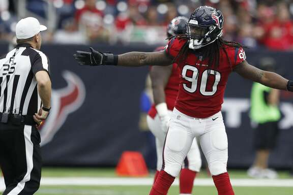 Houston Texans outside linebacker Jadeveon Clowney (90) argues a foul called on him during the third quarter of an NFL football game at NRG Stadium, Sunday, Dec. 10, 2017, in Houston.  ( Karen Warren / Houston Chronicle )