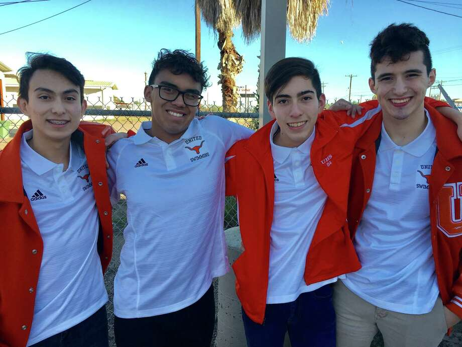 The United 200-yard relay team of Brian Salomon Sevilla, Israel Muniz, David Mendoza and David Gonzalez Jr. broke the UISD record with a 1:33.84 at the BISD Pre-Regional Showcase Saturday afternoon. Photo: Courtesy Photo
