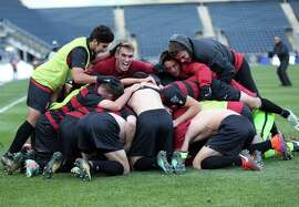 Stanford celebrates after winning Sunday's NCAA College Cup championship game against Indiana in Chester, PA on Sunday December 10, 2017.