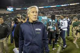 Seattle Seahawks head coach Pete Carroll walks off the field after the end of an NFL football game against the Jacksonville Jaguars, Sunday, Dec. 10, 2017, in Jacksonville, Fla. The Jaguars beat the Seahawks 30-24. (AP Photo/Stephen B. Morton)