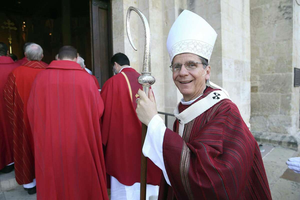 Archbishop Gustavo García-Siller, shown at last year's Red Mass for the legal community, started visiting with Catholics in line for the Serenata three years ago.