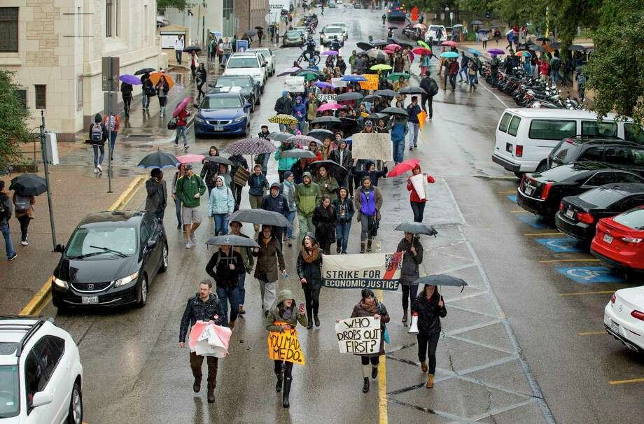 University of Texas at Austin graduate students protest low wages and proposed federal legislation that would tax tuition exemptions as income during a graduate student walkout at the school last week. Photo: Jay Janner, MBO / Austin American-Statesman