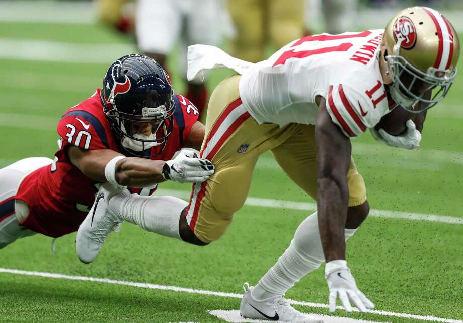 San Francisco wide receiver Marquise Goodwin (11) was a handful for the Texans and cornerback Kevin Johnson on Sunday, totaling 106 yards on six catches. Photo: Brett Coomer, Staff / © 2017 Houston Chronicle