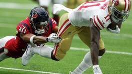 San Francisco wide receiver Marquise Goodwin (11) was a handful for the Texans and cornerback Kevin Johnson on Sunday, totaling 106 yards on six catches.