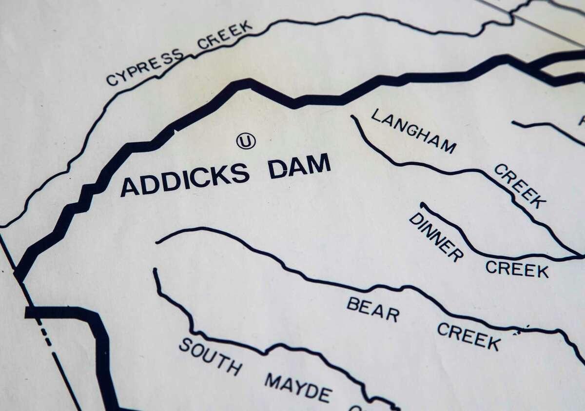 Addicks Dam is shown on the Harris County Flood Control District map. (Marie D. De Jesus / Houston Chronicle )
