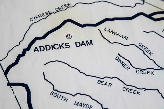 Addicks Dam is shown on the Harris County Flood Control District map.  (Marie D. De Jesus / Houston Chronicle )