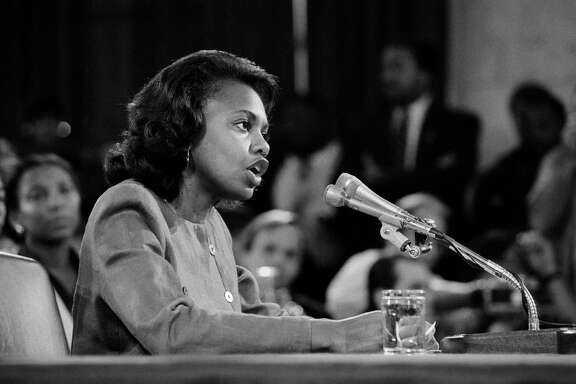 "Anita Hill testifies during the confirmation hearing for Justice Clarence Thomas on Capitol Hill in Washington, Oct. 11, 1991. HBO will be airing a feature film titled ""Confirmation"" about the Hill and Thomas Supreme Court hearings in 1991, where she accused Thomas of sexual harassment, threatening his ascent to the Supreme Court. (Paul Hosefros/The New York Times)"