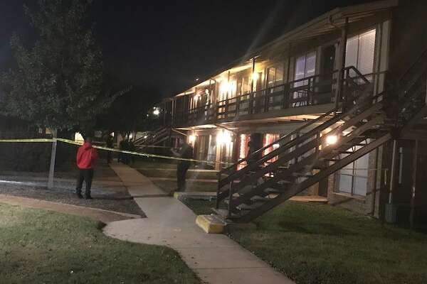 San Antonio police say two men were injured after they where shot while standing outside a South Side apartment complex Sunday night, Dec. 10, 2017.