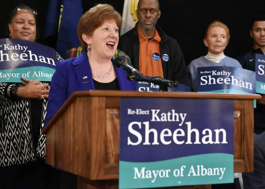 Albany Mayor Kathy Sheehan announces her run for re-election on Saturday, April 8, 2017, in Albany, N.Y.  (John Carl D'Annibale / Times Union archive) Photo: John Carl D'Annibale / 20040176A