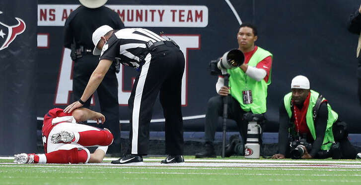Houston Texans quarterback Tom Savage (3) lies on the turf after getting sacked and suffering a concussion during the second quarter of an NFL football game at NRG Stadium, Sunday, Dec. 10, 2017, in Houston.  ( Karen Warren / Houston Chronicle )