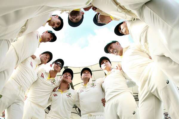 Steve Smith of Australia speaks to his players before they take to the field during day three of the First Test Match of the 2017/18 Ashes Series between Australia and England at The Gabba on November 25, 2017 in Brisbane, Australia.