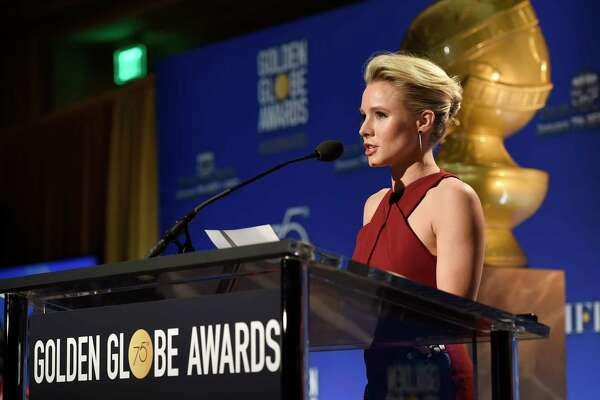 Kristen Bell announces nominations for 75th Annual Golden Globe Awards at the Beverly Hilton hotel on Monday, Dec. 11, 2017, in Beverly Hills, Calif. The 75th annual Golden Globe Awards will be held on Sunday, Jan. 7, 2018. (Photo by Chris Pizzello/Invision/AP)