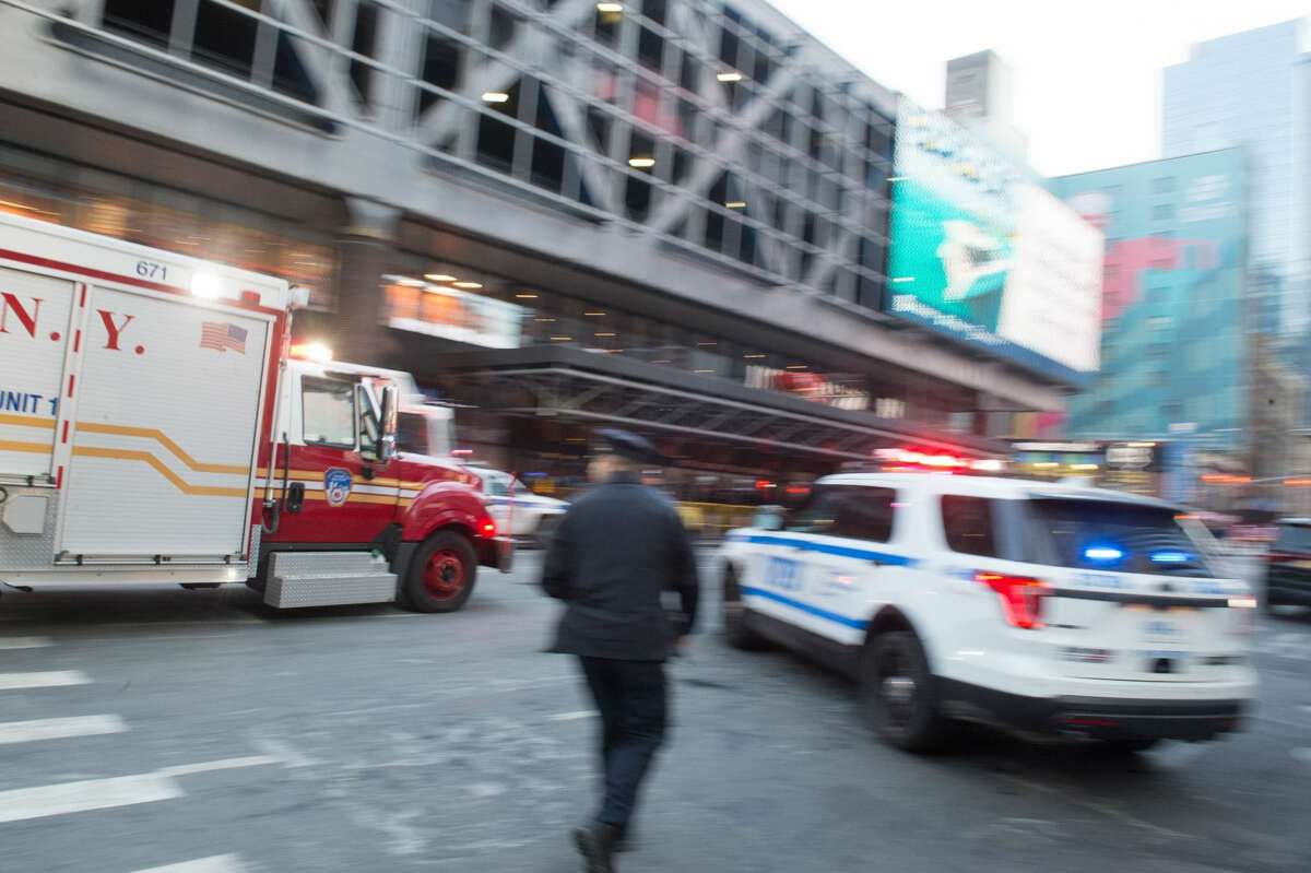 A fire truck arrives after an explosion at the Port Authority Bus Terminal on December 11, 2017 in New York.
